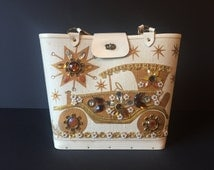 Vintage Enid Collins Purse, Signed Horseless Carriage Jeweled Enid Collins Purse, Mid Century Handbag, 1960's Jeweled Purse