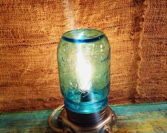 Pet Mason Jar lamp | rustic industrial lamp |  Edison lamp | small Table lamp | Steampunk lamp