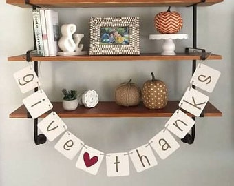 Give Thanks Banner w/ Heart, Fall Decor, Fall Banner, Thanksgiving, Its fall y'all, Photo Prop