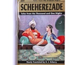 Scheherazade Thousand and One Nights, Arabian Tales, 1950s Vintage Paperback, Classic Literature VPRB01605