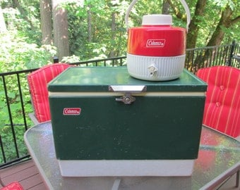 Vintage Coleman one gallon drink beverage dispenser retro mid century 1970's camping picnic supplies father's day