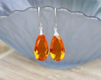 Large Wire Wrapped Fanta Quartz Orange Briolette Earrings in Sterling Silver Euro Hinges , November Birthstone , Wedding , Bridal