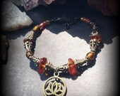 Amber Stone Lotus Flower Bracelet Handmade Antiqued Bronze Dichroic Glass Beads and Warm Amber Charm Bracelet, Yoga, Reiki, Meditation