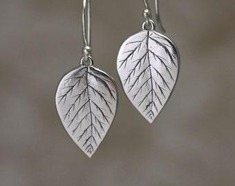 Sterling Silver Leaf Earrings – Sterling Silver Dangle Earrings – Sterling Silver Earrings – Sterling Dangle Earrings Sterling Leaf Earrings