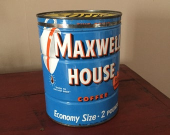 Vintage Coffee Can, Maxwell House 2 lb metal tin with lid, Blue Rusty Rustic,  Farmhouse Kitchen