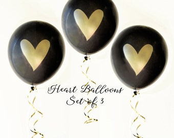 Black & Gold Balloons, Gold Heart Balloons, Bachelorette Party Balloons, Engagement Party Decorations, Black Gold Party, Bubbly Bar Decor