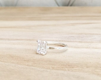 Hammered emerald cut ring, sterling silver ring, solitaire ring, emerald ring, sterling ring, stacking ring