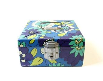 Vintage Porta-File Metal File Box Retro Flowers Blue Green Mid Century