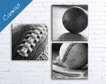 Sports room decor canvas, Boys room wall art, Man cave stuff, Teen room decor, Black White /Sports-Basketball, Football, Baseball canvas set