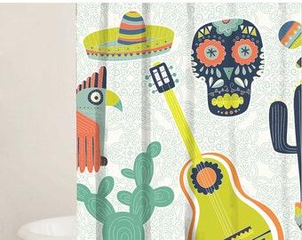 Shower Curtain Set, Custom Shower Curtains, Mexican Bathroom Decor, Fabric Shower Curtains, 2 Fabric Options, Gift Ideas, Bathroom decor