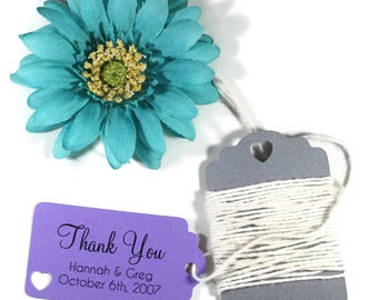 Small Purple Wedding Favor Tags 20pc - Personalized Bridal Shower Gift Tags - Plum Favor Tags - Royal Purple Wedding Tags - Baby Shower