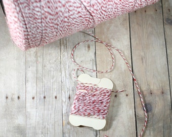 Red Bakers Twine - 8.25 Yards of Red and White Twine - Red Christmas Twine - 300 inches Red and White Bakers Twine - Spool of Twine