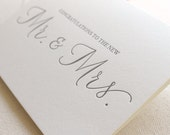 Letterpress Greeting Card, mr and mrs, congratulations, wedding, shower, bride, groom