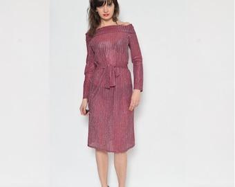 Vintage 80's Burgundy Metallic Sheer Dress / See Thru Long Sleeve Dress / Off The Shoulder Dress / Belted Midi Metallic Dress