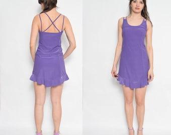 Vintage 90's Purple Strappy Dress / Purple Mini Dress / Sleeveless Mini Dress - Size Small