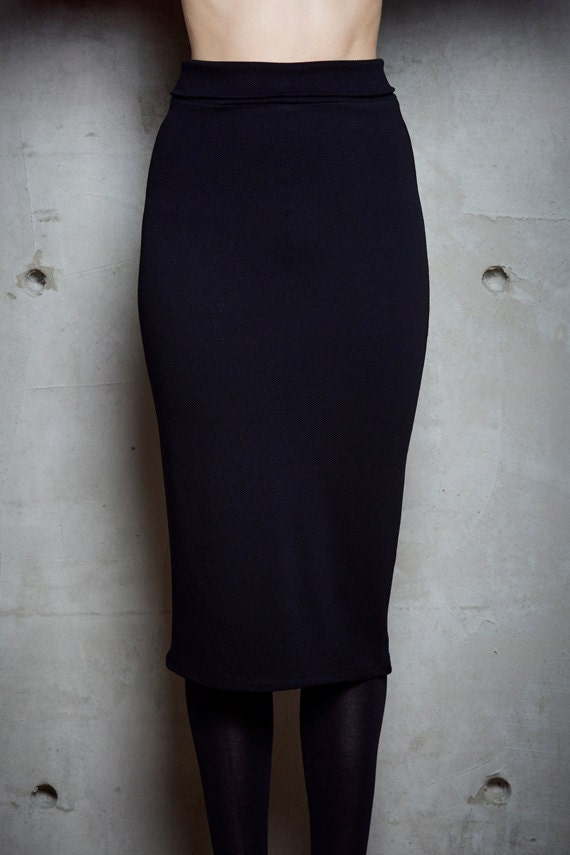 MOSCOU - Fitted midi skirt, Mid-long skirt, mid-calf skirt - black