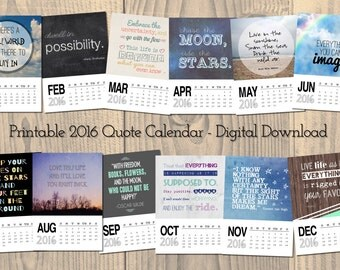 Printable calendar 2016, quote calendar, digital calendar, calendar download, digital download, word art, inspirational, motivational