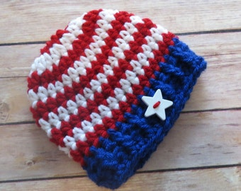 PATRIOTIC 4th of July Hat w/Star button Baby Shower Gift, Photo Prop, Preemie, newborn to Adult, bringing home baby, armed forces hat