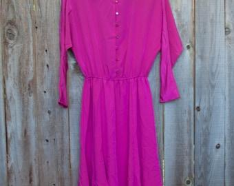 1980s Vintage Magenta Dress Size 10