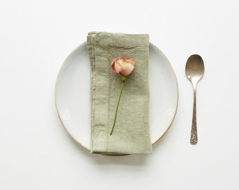 Set of 2 Sage Washed Linen Napkins