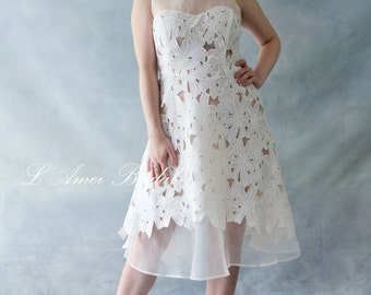 Custom Short Knee / Tea Length Ivory Lace Boho Wedding Party Dress