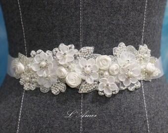 SALE -Hand Beaded Ivory White Lace Flower on a Double Face Bridal Wedding Sash Ribbon, wedding dress belt