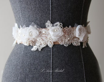Hand Beaded Ivory White Lace with small white Flower on a Double Face Bridal Wedding Sash Ribbon