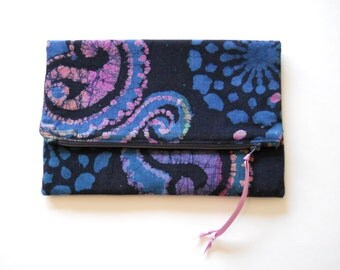 Batik On Navy Foldover Clutch