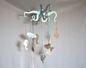 Wooden baby mobile silver ,Nursery mobile , Baby crib mobile, Wooden mobile, marine Hanging Mobile, sea decor, Beachy wall Art ,Beach Decor