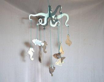 Wooden baby mobile silver ,Nursery mobile , Baby crib mobile, Wooden mobile, marine Hanging Mobile, sea decor, Beachy wall Art ,Beach Decor