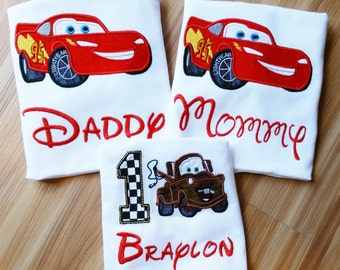 Lightning McQueen Daddy Mommy Sally Tow Mater Family Cars Disney Shirt Birthday Number Embroidery(Personalizing Included) One Shirt Listing