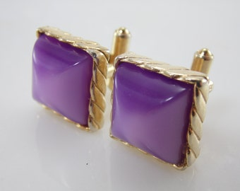 Vintage Purple Gold Tone Men's Matching Cuff Links & Tie Clip Set