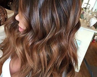 caramel ombre hair extension etsy fr. Black Bedroom Furniture Sets. Home Design Ideas