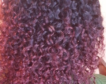 "14"" U part curly wig two tone 1b/burgundy ombre Ready to ship"