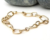 solid 14k gold bracelet, handmade 14k gold link bracelet, gift for her, adjustable length