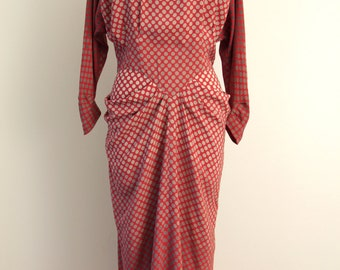 Vintage 1940s Red Polkadot silk dress, size S