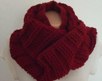 Burgandy chunky scrochet snood, crochette burgandy snood, chunky knit snııd , chunky burgandy infinity scarf ,