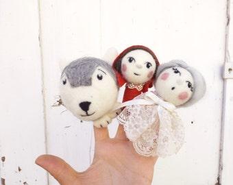 Finger puppets Little Red Riding hood, felt finger puppets, toy dolls for story telling, finger puppets set.
