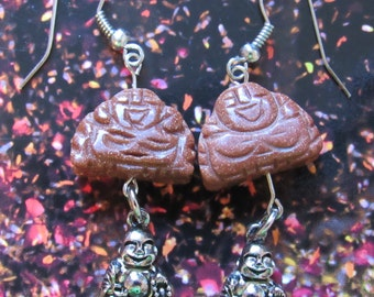 Double Laughing Buddha Earrings