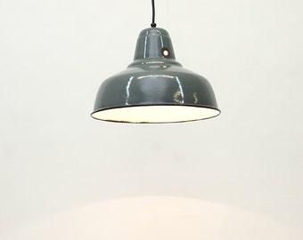 """Pendant industrial  lamp , in enameled metal :""""Otarie""""."""