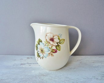 Small Vintage Ceramic Floral Jug / Pitcher, Made in Romania