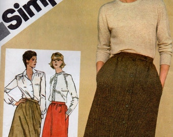 9789 Simplicity Sewing Pattern Gathered Waist Skirt Side Seam Pockets Size 12 Vintage 1980