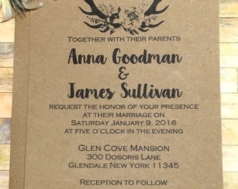 Rustic Wedding Invitation - Country Wedding Invitation - Barn Wedding Antler Invitation - Country Wedding Invitation SAMPLE