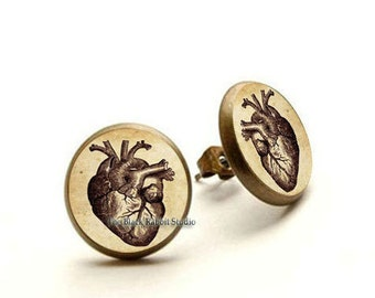 Anatomical heart earrings, Anatomical heart jewelry, Heart stud, Gothic heart, Hypoallergenic Earrings