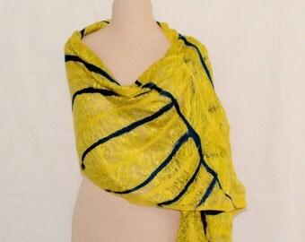 Bright Yellow Gold Silk Scarf, Felted Silk Scarf, Art Scarf, Yellow Gold with  Ultramarine Ornament