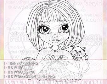 Crochet Knitting Girl UNCOLORED Digital Stamp Image Adult Coloring Page jpeg png jpg Fantasy Craft Fae Cardmaking Papercrafting DIY