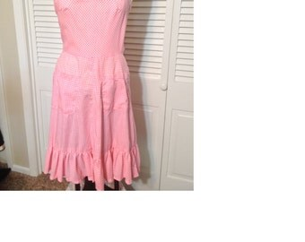 Pink gingham vintage handmade dress