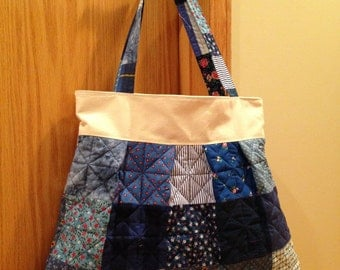Quilted and Pleated Shoulder Bag. Canvas Top and Liner. Blue. Large
