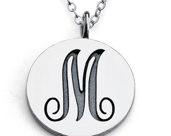 Scripted Initial Letter M Coin Charm Pendant Necklace #925 Sterling Silver #Azaggi N0428S_M