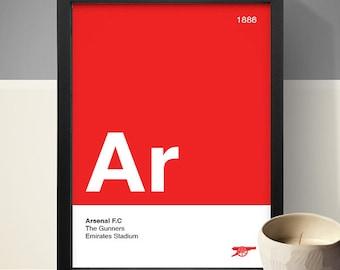 Arsenal Football Club Poster, Football Poster, A4 Football Print, Football Gift, Red & White
